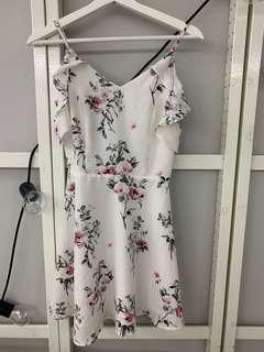 MDS white floral off shoulder dress