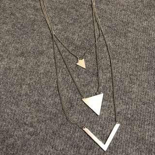 🚚 全新 / 銀色幾何三層長項鍊
