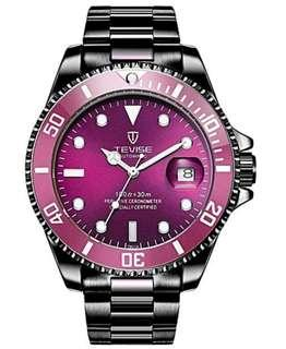 Tevise Mechanical Automatic Black Ion Plated Mens Watch ( Submariner, Zimbe homage )