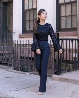 All Lace Navy Blouse