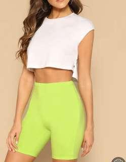 Neon green biker shorts