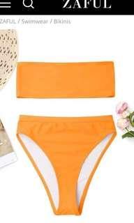 Bright orange strapless high waisted bikini size small