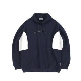 🚚 Liful Wide Turtleneck Sweatshirt 鋪棉大學T 丈青色