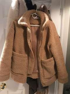 Camel teddy coat XS