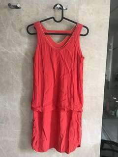 Red gold trimmings casual dress (Uk 8/10)