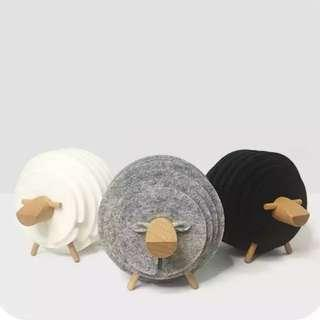Sheep Shape Anti Slip Drink Coasters Insulated Round Cup Mat Japan Style Creative Home/Office Decor Nordic Style Gift