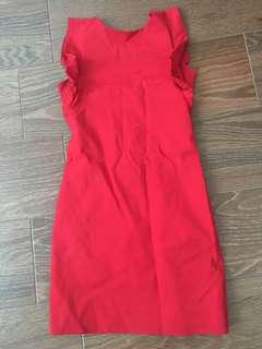 🚚 Red structure boutique material dress