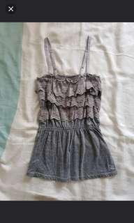 Abercrombie and Fitch Grey lace spaghetti top