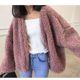 Fleece Jacket, Open Front, Pink
