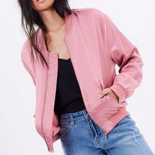 Pink 'Britney' Bomber Jacket, Lined, Silk