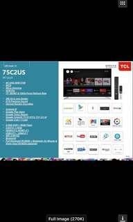 """Andriod TV - 75"""" 4K - Pre-order- Early bird Promotion- Free Gift - PM"""