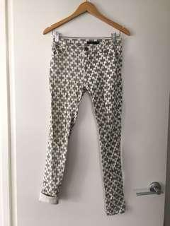 $10 SALE Patterned skinny jeans / jeggings by EF - Sz S