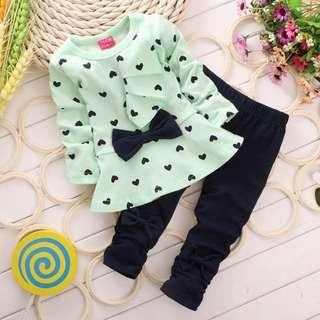 Kids Girl Blouse Long Sleeve With Pants