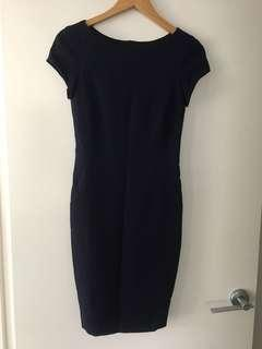 Zara navy work corporate midi pencil dress - Sz XS