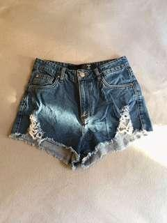 Blue ripped shorts