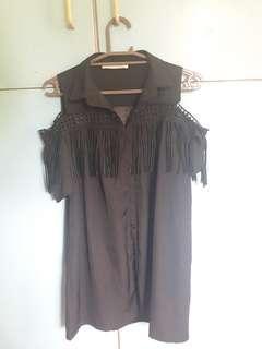 SALE Black dress with fringe