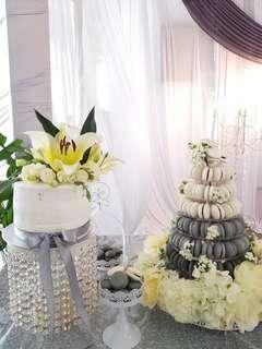 Wedding 7 Tier Macaron Tower with Cake