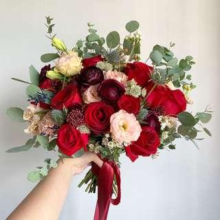 Bridal Bouquet in Burgundy and Red
