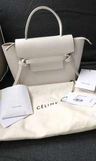Like new Celine white nano belt bag from store