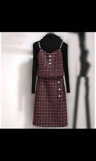 BN 3 piece Korean ulzzang Checkered Dress set OL winter summer