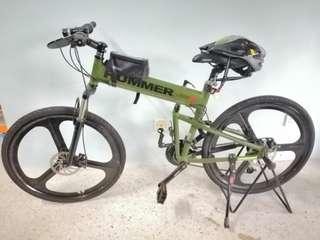 "Military Green; 26"" inches; 27-spds; Foldable Hummer bike"