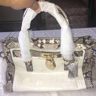 f3318d607cb6 Authentic Michael Kors Hamilton Frame Out Embossed Leather Satchel Soulder  Bag