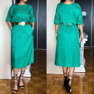 Vintage green silk dress