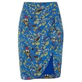 🚚 Oasis Bird Print Ruffle Skirt