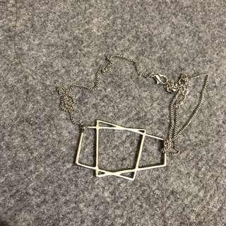 🚚 全新 / 銀色梯形幾何雙層項鍊