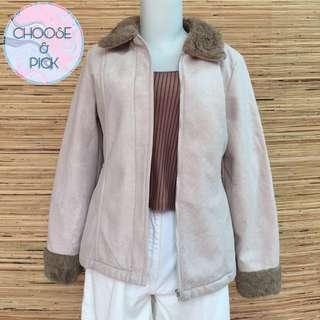 Jaket coat bulu coklat korea