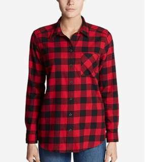 🚚 Pull & Bear Red Flannel Button Down Womens Shirt with Left Breast Pocket