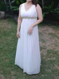 Formal White Long Dress Gown