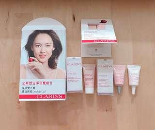 Clarins 美白抗炎 white plus brightening revive gel mask serum sunscreen powder foundation
