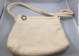 Reduced - Vintage 1950s Lumured Off White Mesh Bag