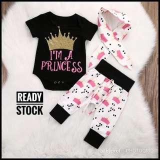 ( READY STOCK ) PRINCESS ROMPER SET 3 IN 1