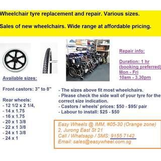 Wheelchairs tyre change