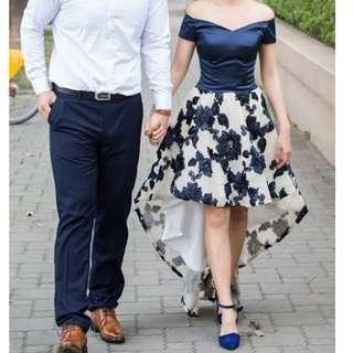 藍色刺繡婚紗小禮服