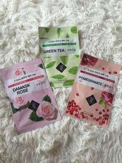 uthentic Etude House Masks Damask Rose, Green Tea, Pomegranate