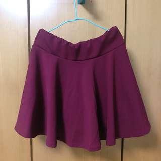 酒紅色 厚棉短裙 A字裙