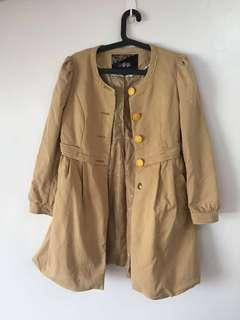 Tan Puff Sleeves Trenchcoat