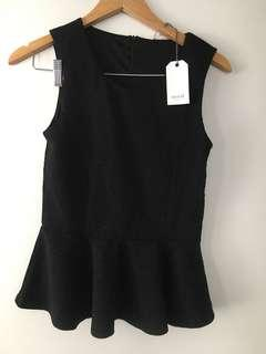 NEW Seed black peplum work top - Sz XS
