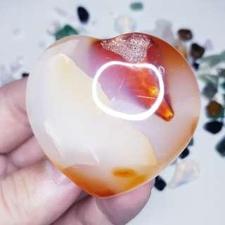 🚚 Druzy Red Orange Carnelian Agate Crystal Heart to attract Prosperity, new resources and Good Luck 红玛瑙水晶 财运