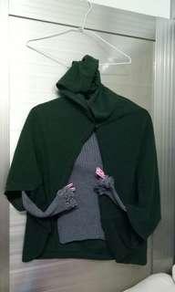 🚚 二手綠豆披風上衣/M型身材(二件組)