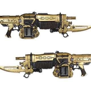 NECA GEARS OF WAR LIFESIZED GOLD RETRO LANCER PROP REPLICA