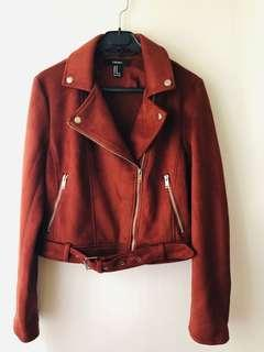 Forever 21 Faux Suede Rust MotoJacket