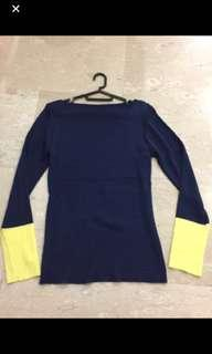🚚 BN Dark Blue and Yellow Long Sleeve Top