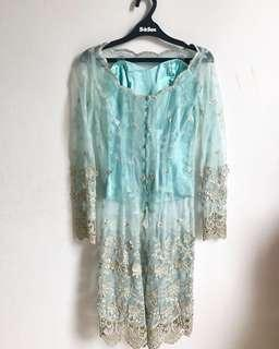 French lace kebaya in teal colour