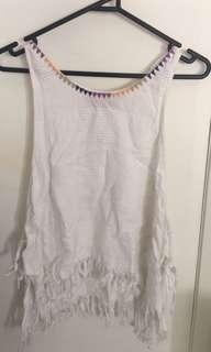Tigerlily white tassel tie beach top size small 8-10
