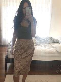 Animal Skin Print Silky Skirt