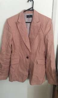 Cue light pink linen blazer size 14